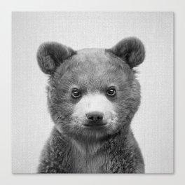 Baby Bear - Black & White Canvas Print