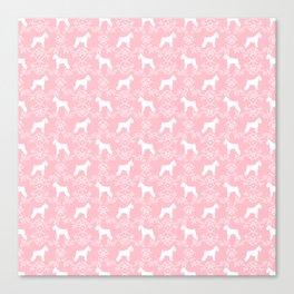 Schnauzer floral silhouette pattern schnauzers minimal pink dog art Canvas Print