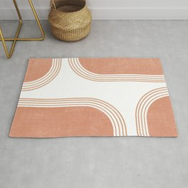 Mid Century Modern 4 - Geometrical Abstract - Minimal Print - Terracotta Abstract - Burnt Sienna Rug