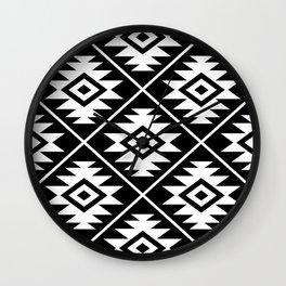 Aztec Symbol Pattern White on Black Wall Clock