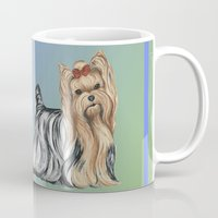 yorkie Mugs featuring Yorkshire Terrier - Yorkie- by Nina Lyman of Dogs By Nina by Cats and Dogs by Nina Lyman
