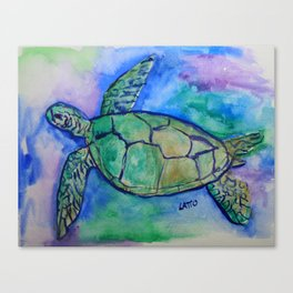 Sea Turtle Watercolor Painting Canvas Print