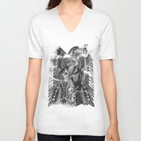 hawk V-neck T-shirts featuring Hawk by Kristian Boserup