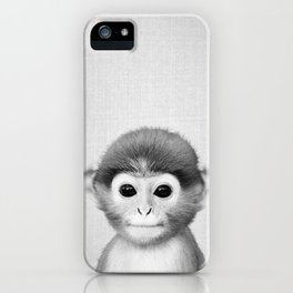 Baby Monkey - Black & White iPhone Case