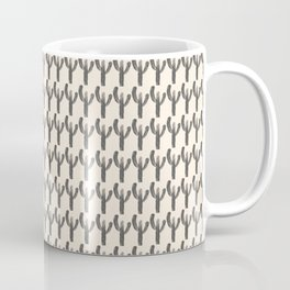 Multi Cactus Pattern 1 in Charcoal and Almond Cream Coffee Mug