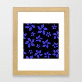 Hawaiian Island Style Violet-Blue Floral Print Framed Art Print