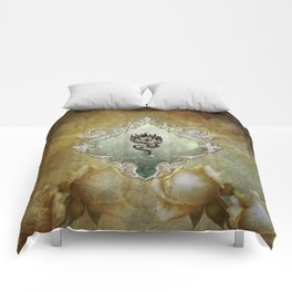 Wonderful tribal dragon on vintage background Comforters