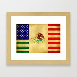 MEXICAN AMERICAN FLAG - 017 Framed Art Print