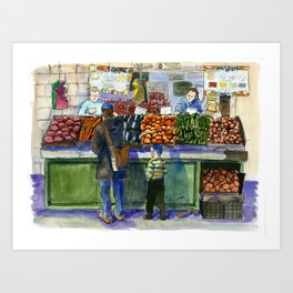 People in the Marketplace Art Print