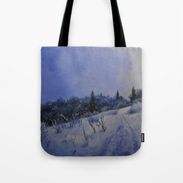 winter first comes in the mountain  Tote Bag