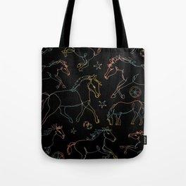 Galloping Horses, Rainbow Gradient on Black Tote Bag