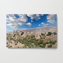 The towers of the village Vatheia in Mani, Greece Metal Print