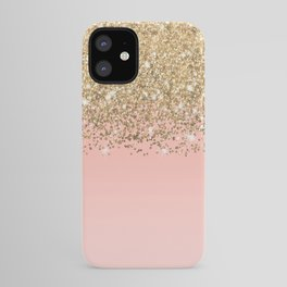 Girly Chic Gold Confetti Pink Gradient Ombre iPhone Case