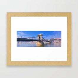 View Chain bridge over Danube river. Framed Art Print