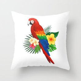 Tropical Macaw Floral Watercolor Throw Pillow