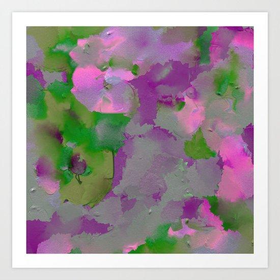 Raw Paint 1 - Purple And Green Art Print