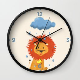 Little lion with a duck Wall Clock