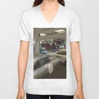 porsche V-neck T-shirts featuring Porsche Garage by Premium