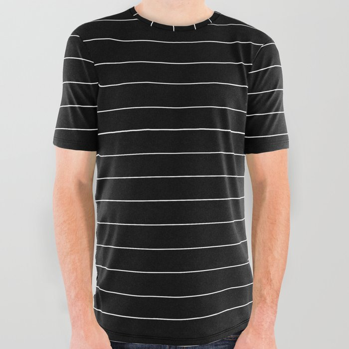 09c305d1 Black White Pinstripe Minimalist All Over Graphic Tee by ...