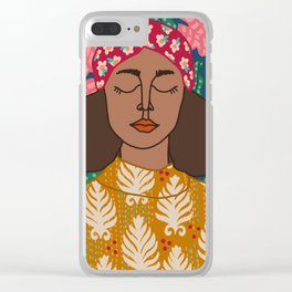 Portrait Of a Woman and Patterns Clear iPhone Case