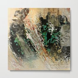 Butterfly Travalogue - Mixed Media Beeswax Encaustic Abstract Modern Art, 2015 Metal Print
