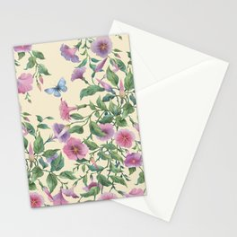 Petunia flowers seamless  pattern. Hanging plants Stationery Cards