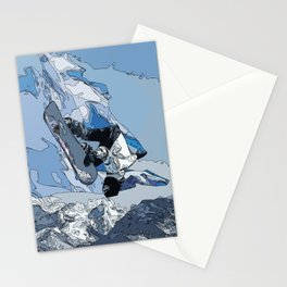 Ski over avalanche//snow mountain//Mountain Ski Landscape Blue and White sketch Vibes Stationery Cards