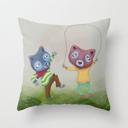 Arctic foxes at play in Lava Fields Throw Pillow