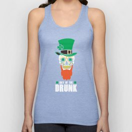 St Patricks Day Sugar Skull Top Hat Day Of The Drunk Unisex Tank Top