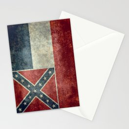 Mississippi State Flag in Distressed Grunge Stationery Cards