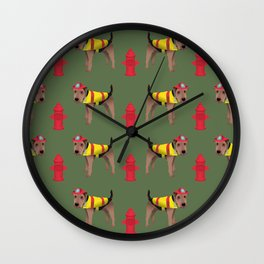 Welsh Terrier Firefighter Wall Clock
