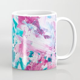 Pink turquoise modern abstract acrylic painting Coffee Mug