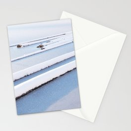 Snow frozen lake, snow covered logs, frozen, Lake, landscape Stationery Cards