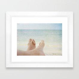 Have fun on beach! Framed Art Print