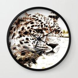 Leopard In Wilderness Sepia Wall Clock