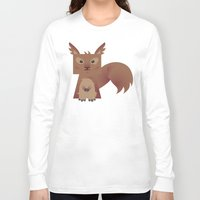 furry Long Sleeve T-shirts featuring Furry Squirrel by Yay Paul