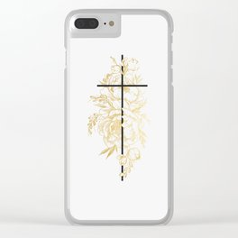 Floral Cross Clear iPhone Case