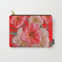 GREY-RED  PINK & CREAM DAYLILIES FLORAL Carry-All Pouch