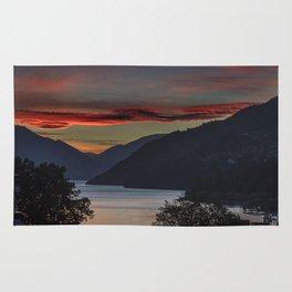 Sunset over Queenstown and Lake Wakatipu Rug