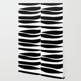 Irregular Stripes Black White Waves Art Design Wallpaper