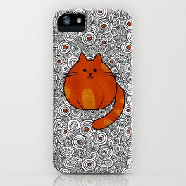 Cute Ginger Cat - Stained glass and swirls iPhone Case