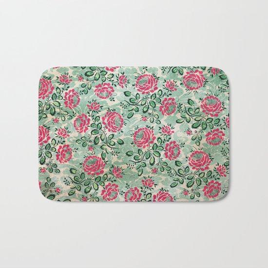 Retro French Floral Pattern Bath Mat