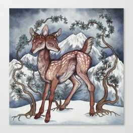 Winter Fawn Canvas Print