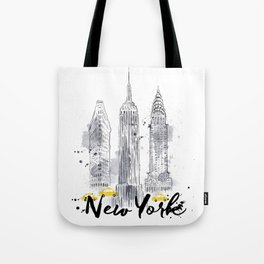 Watercolor New York buildings Tote Bag