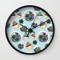 succulents Wall Clocks featuring Succulents by Sofia Kraushaar