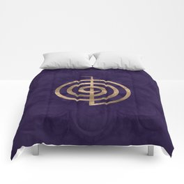 Cho Ku Rei - gold on purple lotus Comforters
