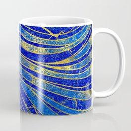 Lapis Lazuli and gold vaves pattern Coffee Mug