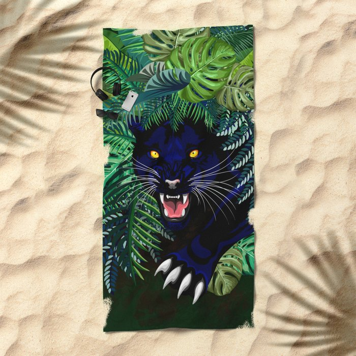 Black Panther Jungle Spirit Beach Towel