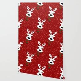 Reindeer in a snowy day (red) Wallpaper