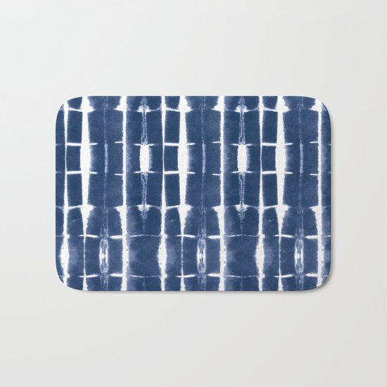 Shibori Stripes 3 Indigo Blue Bath Mat